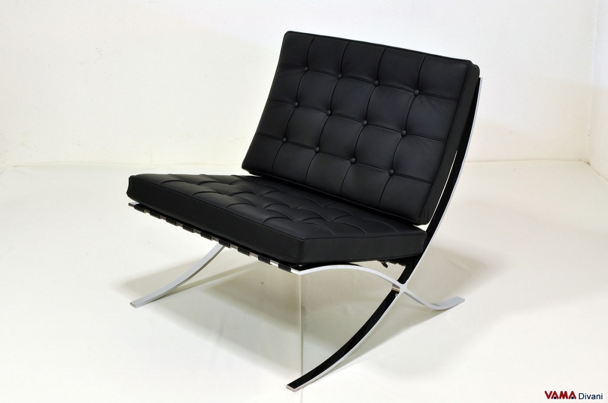 Barcelona Armchair In Black Leather With Steel Structure