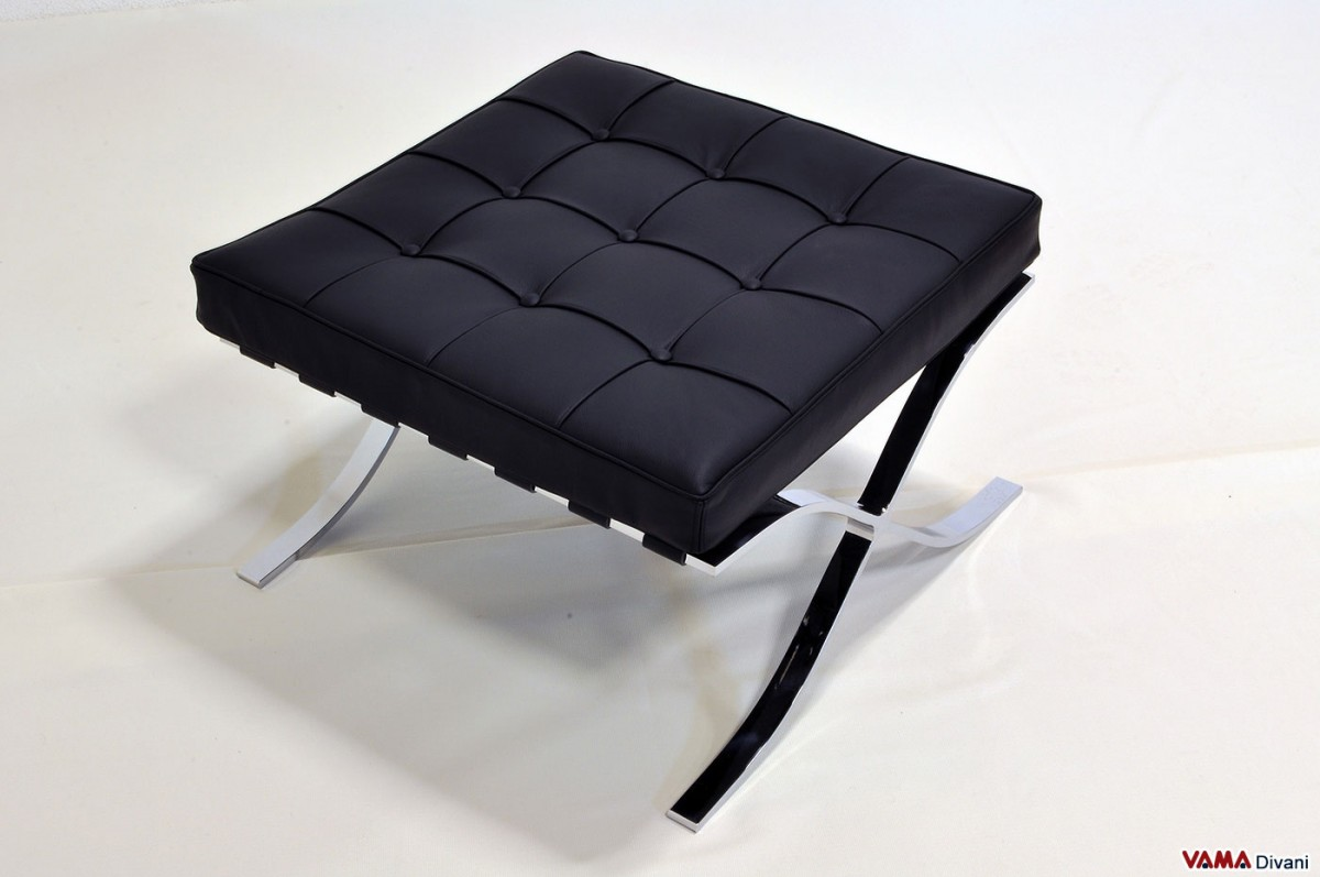 Barcelona footstool in black leather with chrome steel for Black leather footstool