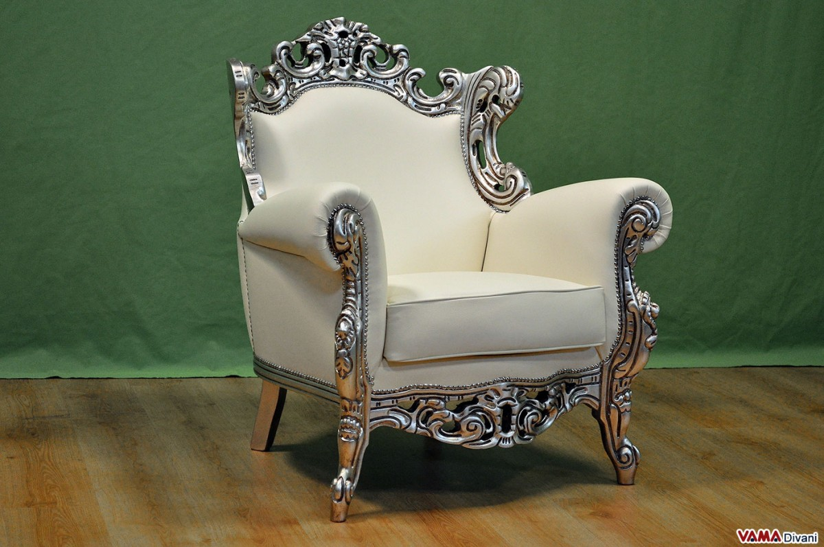 Baroque Armchair In White Leather With Silver Foil Frame