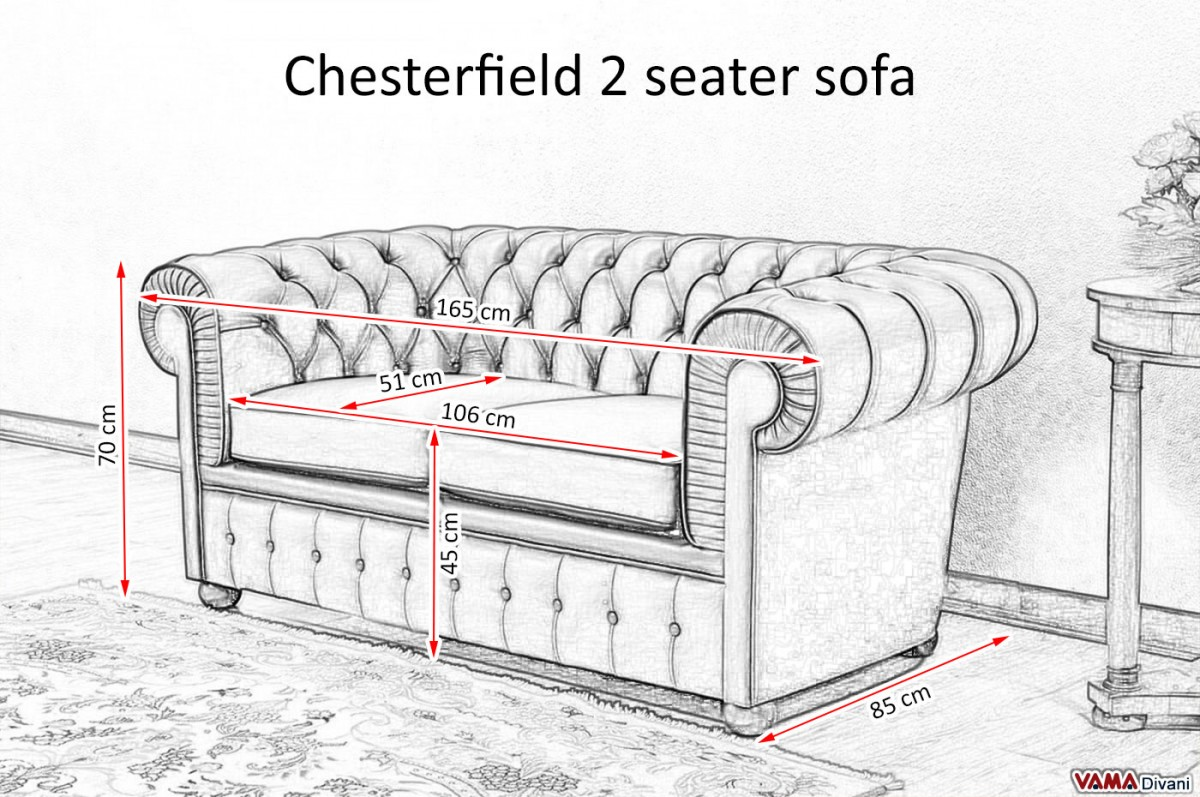 Chesterfield 2 seater sofa price upholstery and dimensions for Size of a sofa