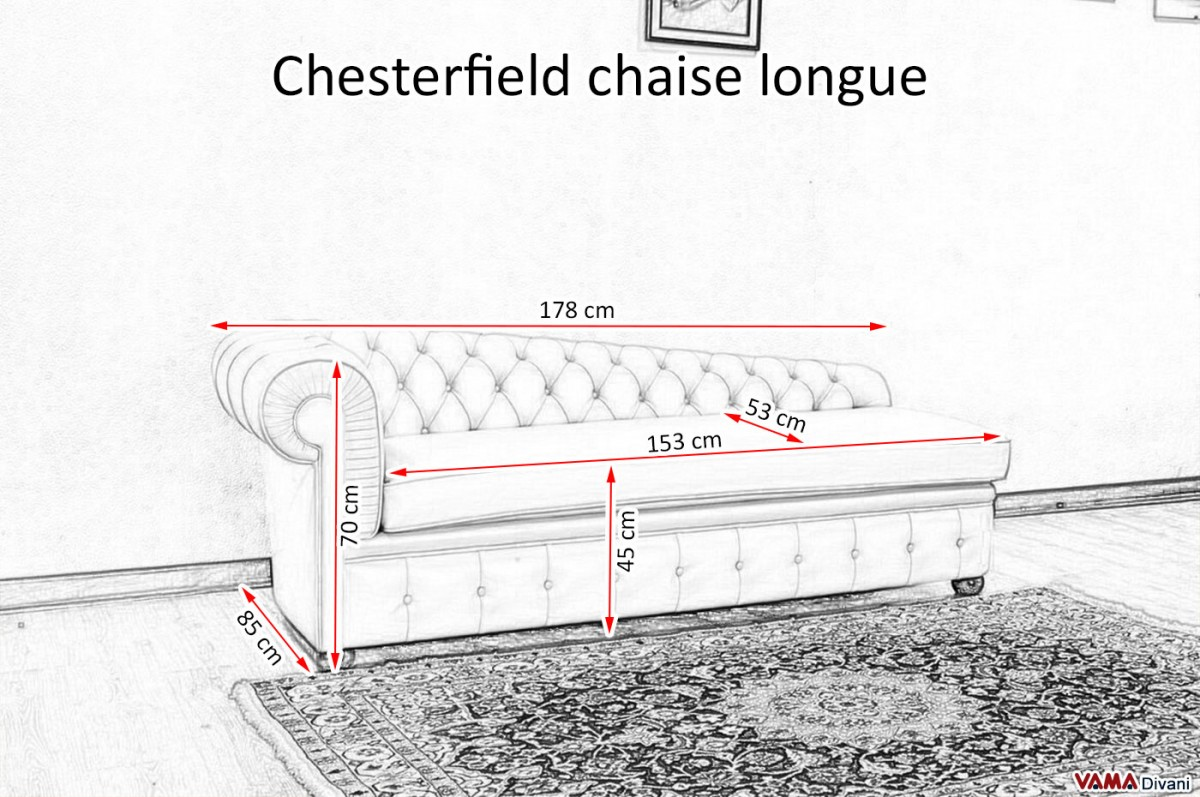 Chesterfield leather chaise longue price and sizes for Chaise dimensions