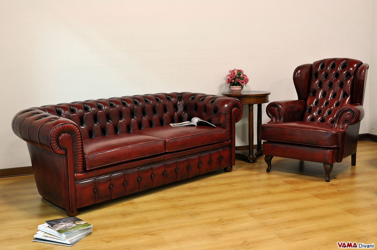 Chesterfield Sofa In Vintage Aged