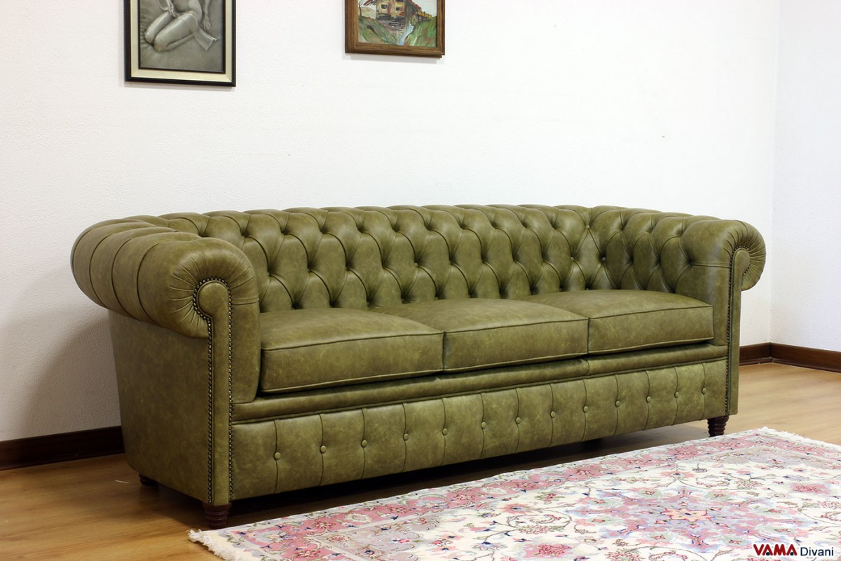 Chesterfield sofa with vintage brass plated studs for Sofa with studs