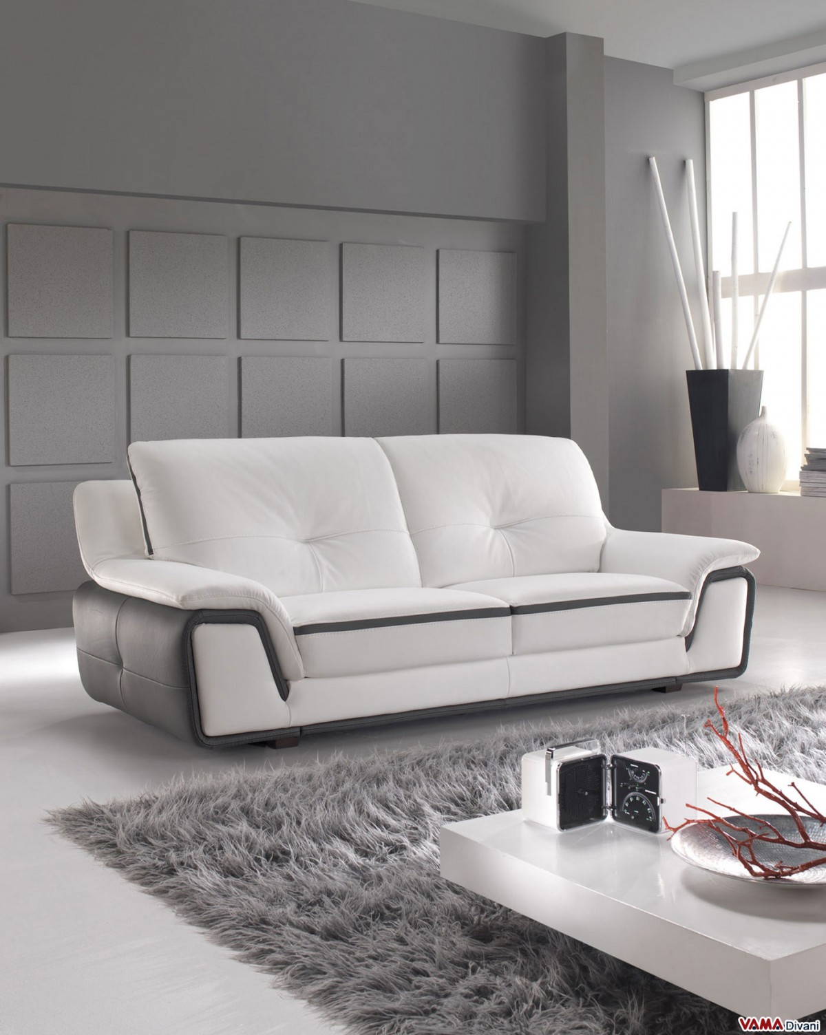 Contemporary Sofa In White And Grey Genuine Leather