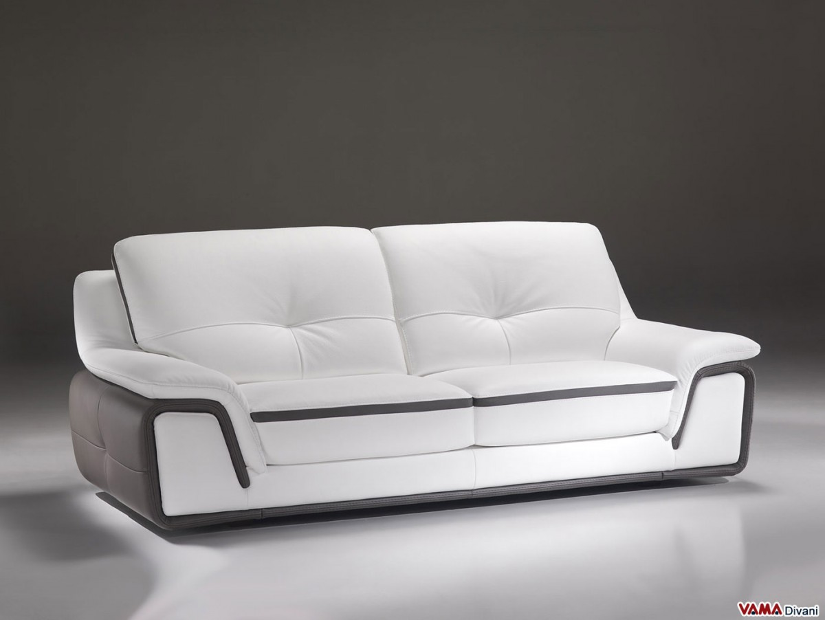 contemporary sofa in white and grey genuine leather. Black Bedroom Furniture Sets. Home Design Ideas