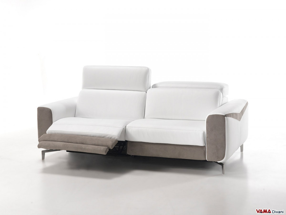 Leather sofa with electric recliner for your head and feet Contemporary leather sofa