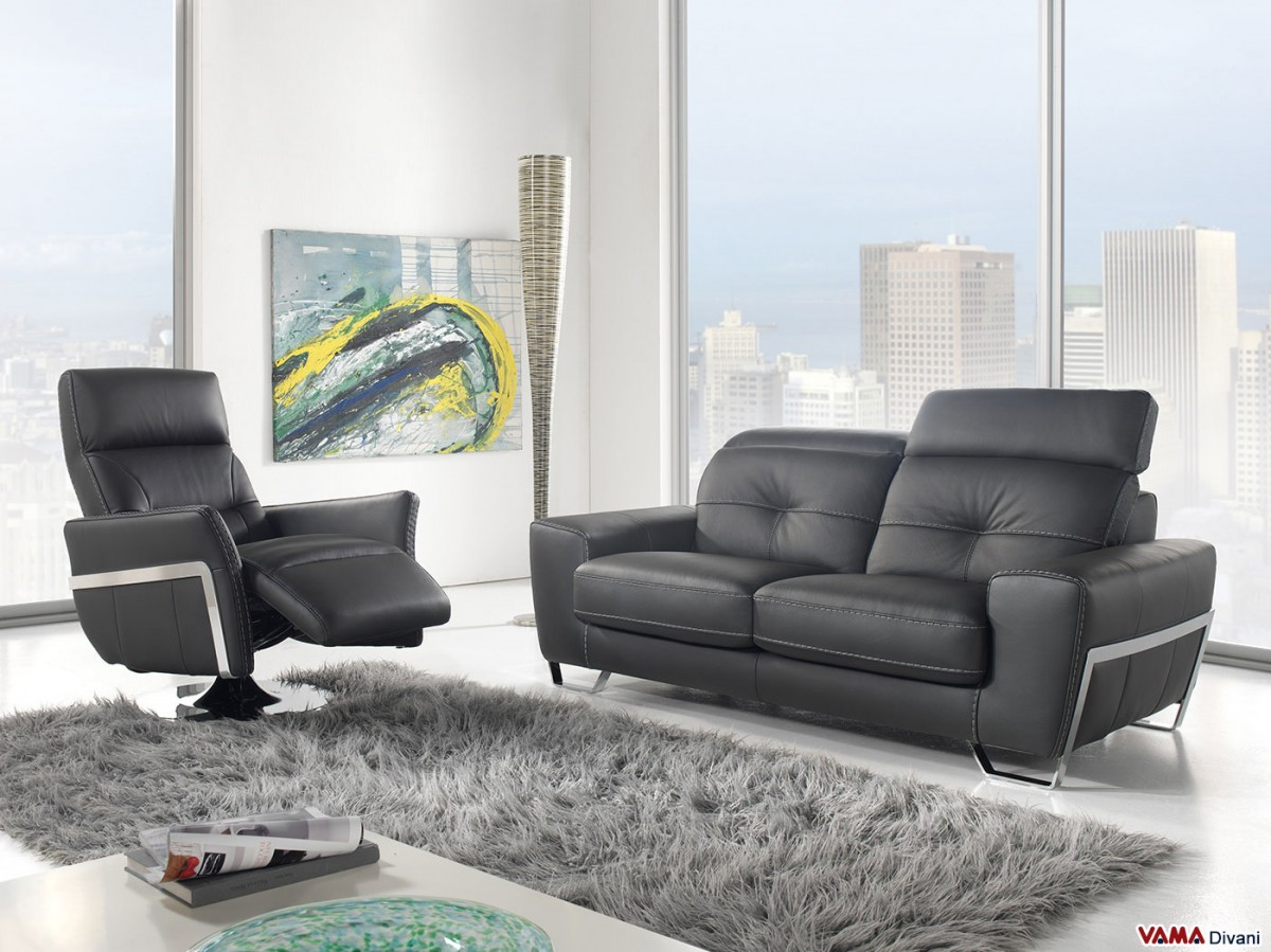 Contemporary style black leather sofa with reclining headrests for Contemporary reclining sofas