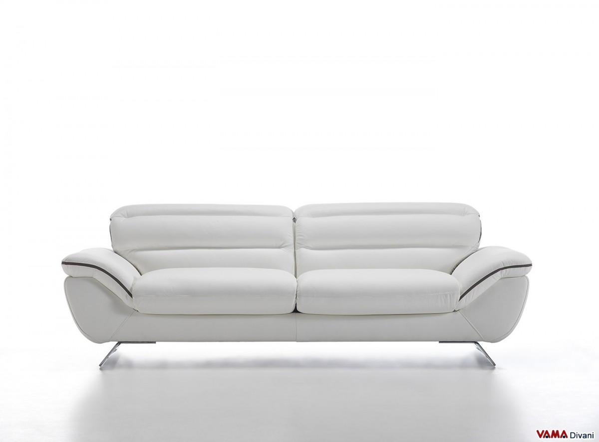 Contemporary white leather sofa with steel feet Contemporary leather sofa