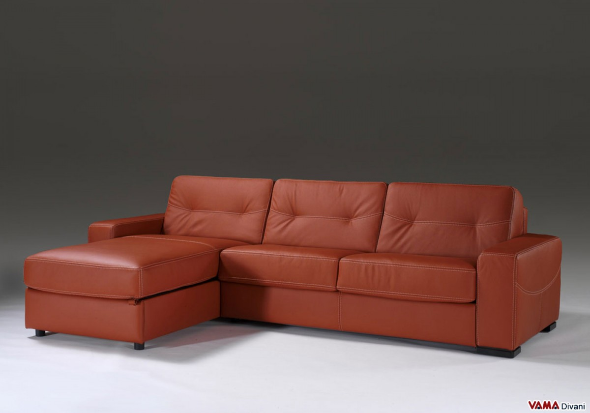 Corner sofa bed in leather with storage Corner couch with sofa bed