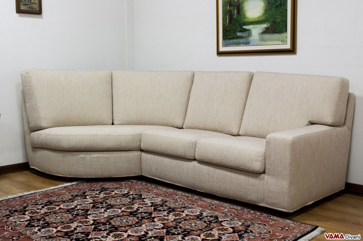 Rounded Corner Fabric Sofa With Removable Cover