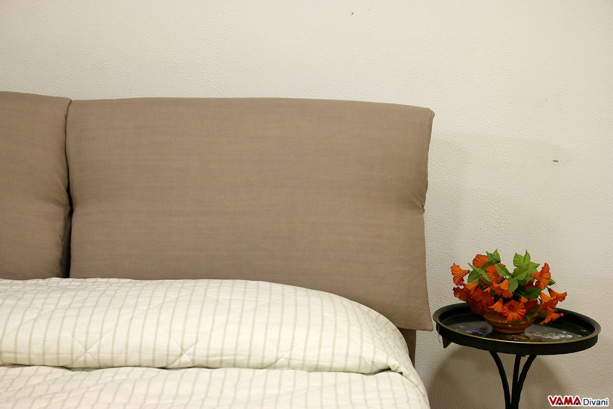 Fabric bed with two upholstered cushions as headboard for Spalliere letto ikea
