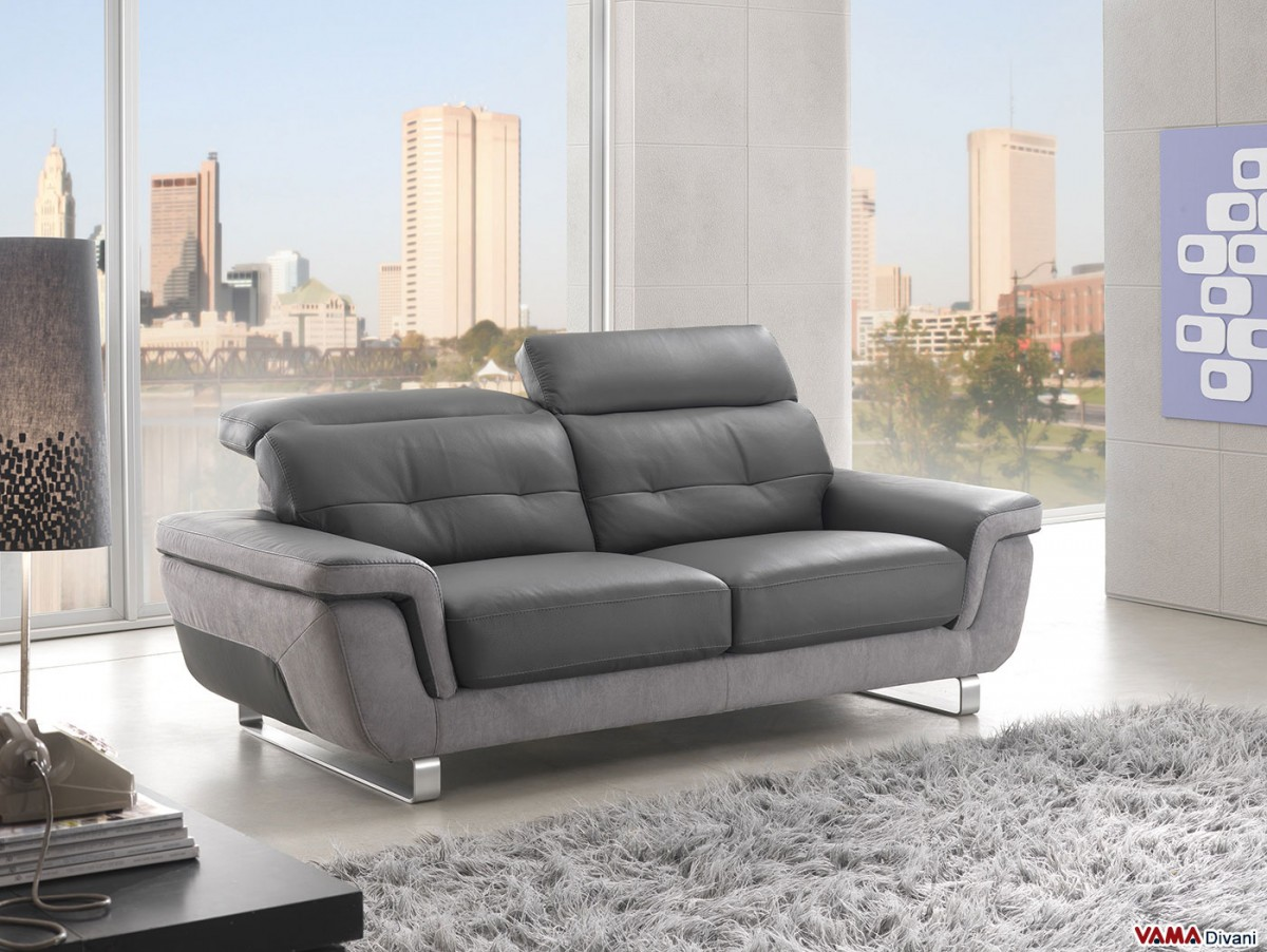Contemporary leather sofa with reclining headrests for Contemporary reclining sofas