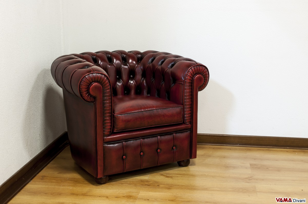 Small Chesterfield Armchair In Vintage