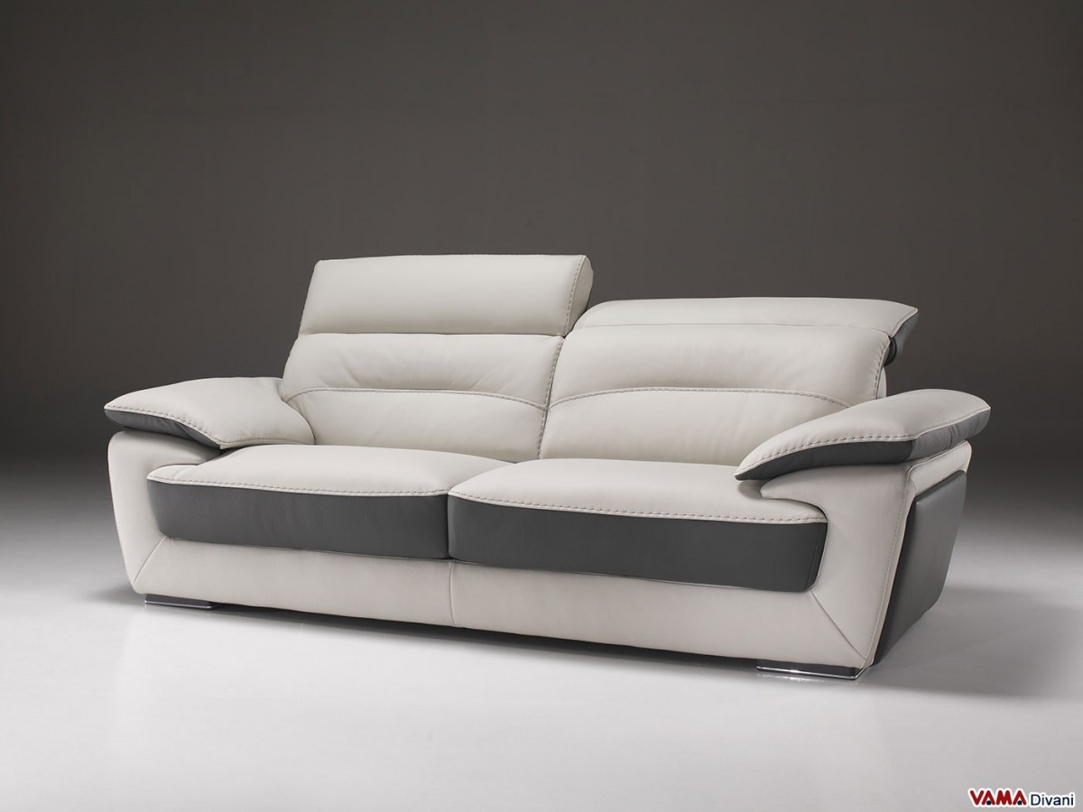 Contemporary Sofa In Two Tone Leather With Reclining Headrest