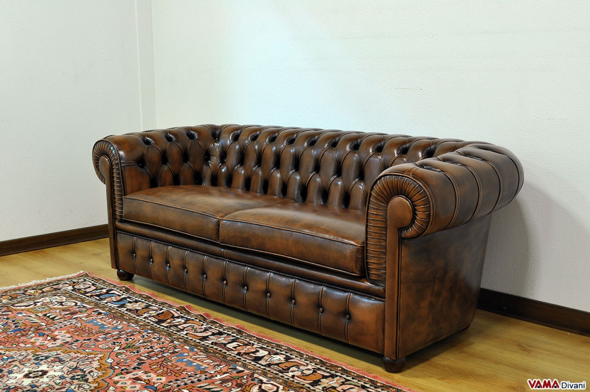 Sofa In Vintage Brown Leather