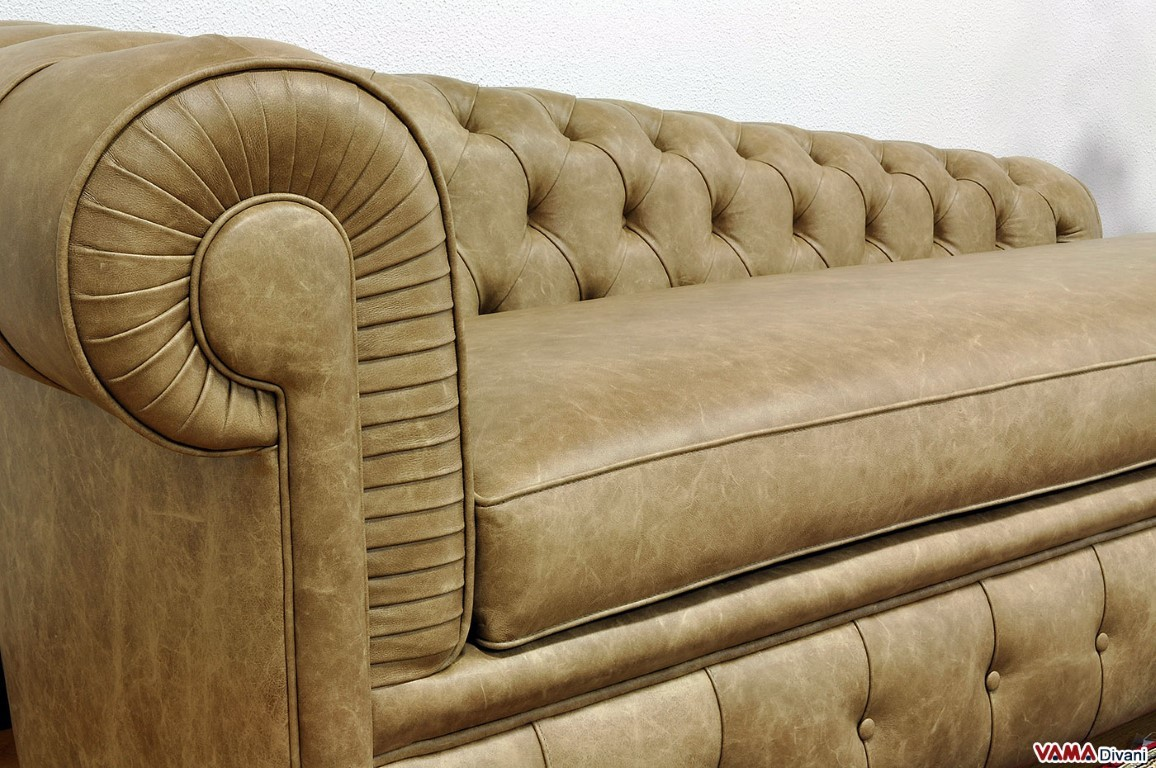 Chesterfield leather chaise longue price and sizes for Chaise longue 200 cm