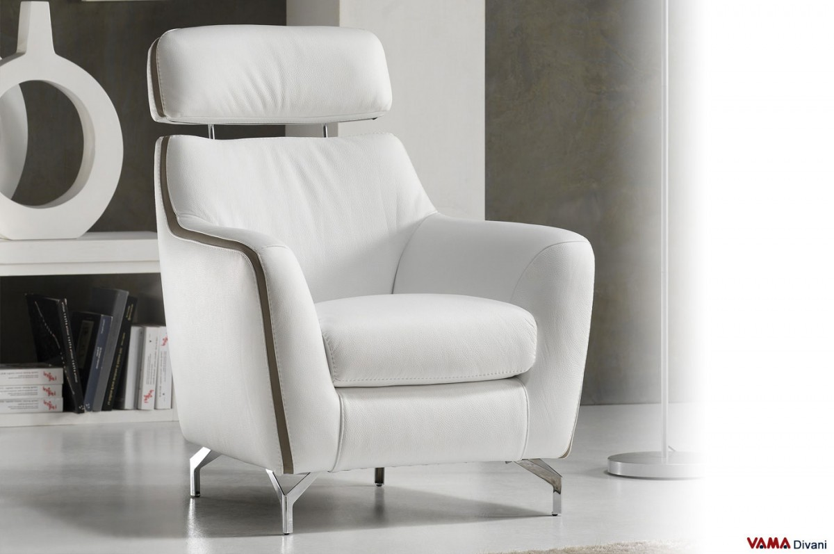Contemporary Leather Armchair With Raised Headrest