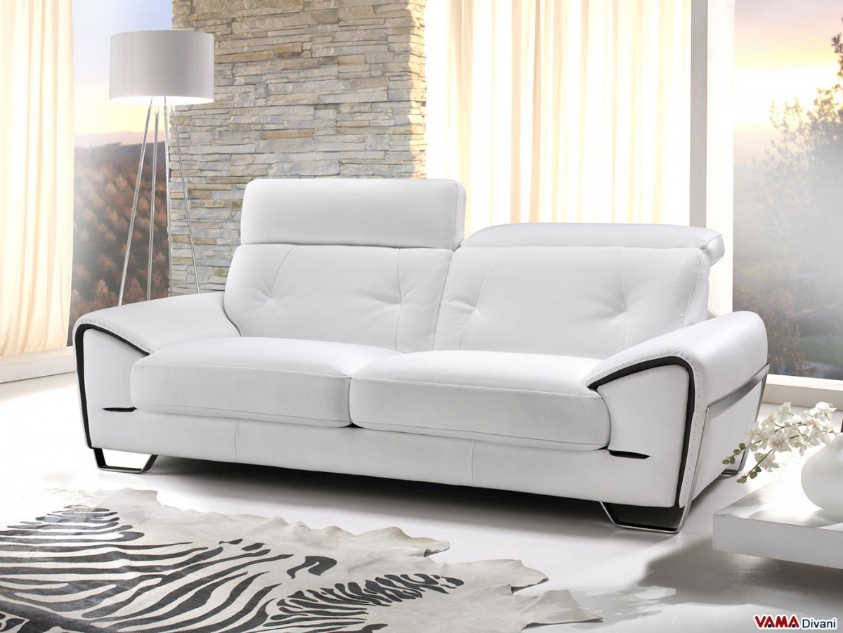 Leather Sofa With Reclining Headrest And Steel Feet