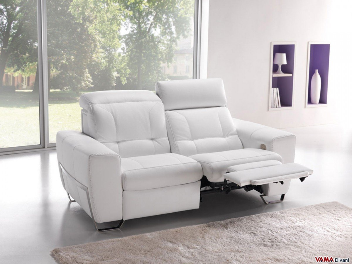 Reclining Leather Sofa With Independent Electric Mechanism