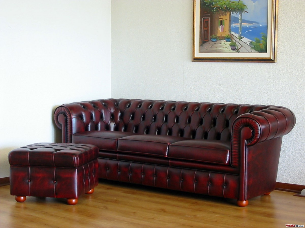 3 Seater Chester Sofa With Footstool In Aged Leather