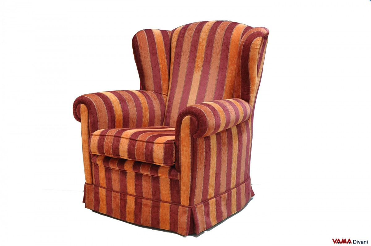 Bergere fabric armchair without removable cover