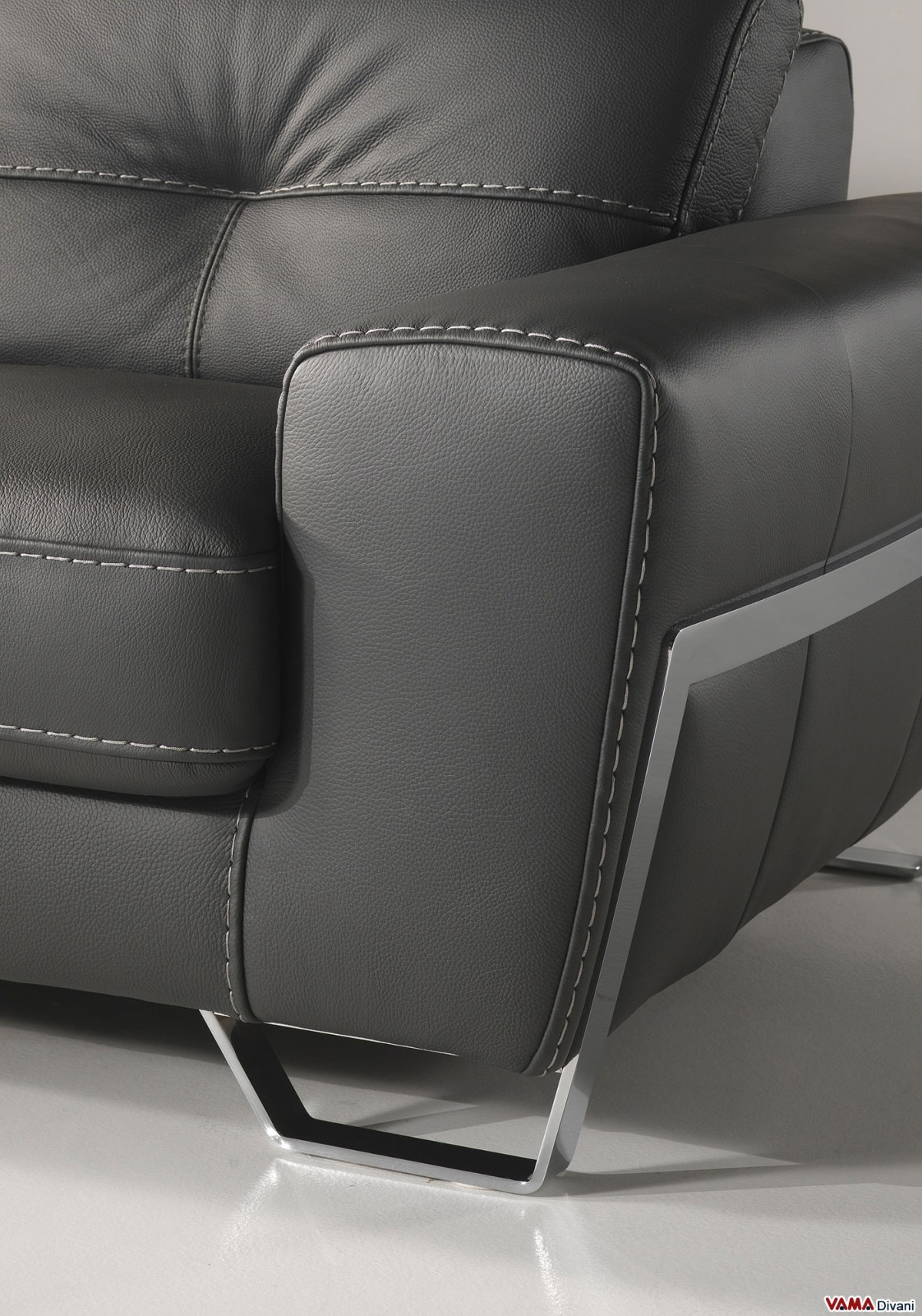 Contemporary style black leather sofa with reclining headrests