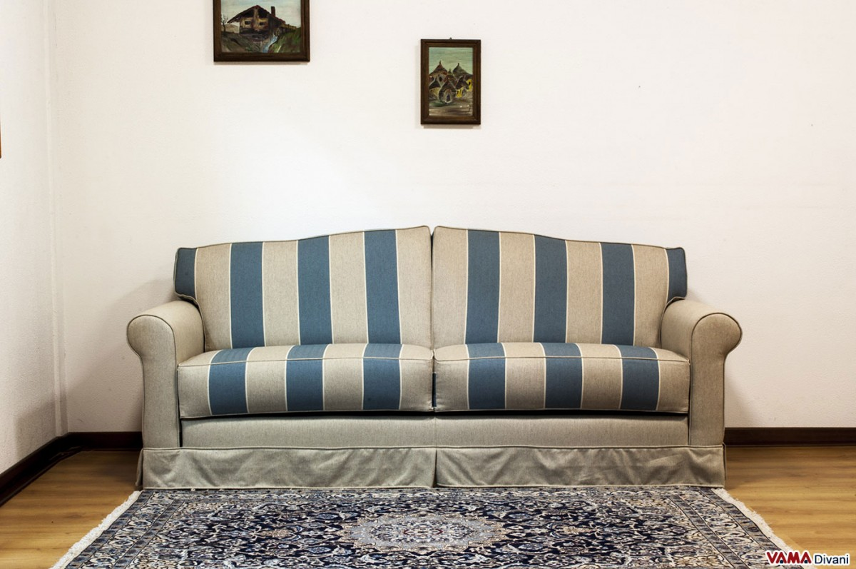 Blue Striped Fabric Sofa Bed With Removable Cover