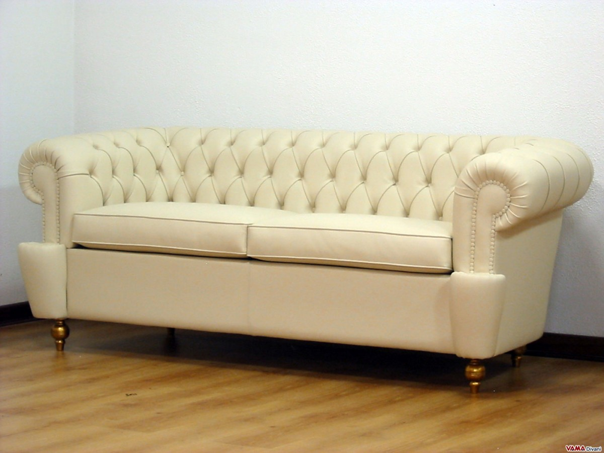 Chester Custom Sofa With Covered Studs And Wooden Tapered Feet