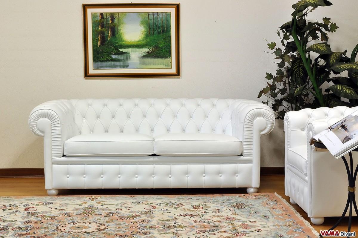 Chesterfield 2 Maxi Seater White Sofa