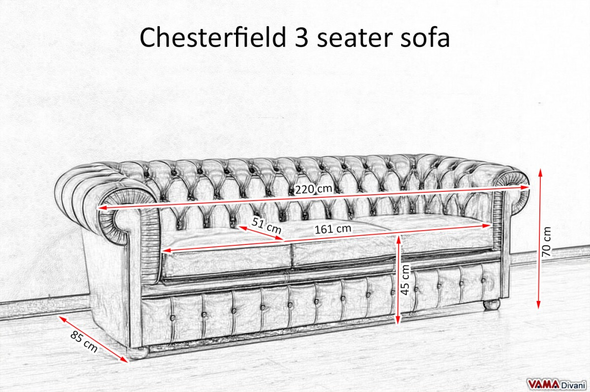 Chesterfield 3 Seater Sofa Size
