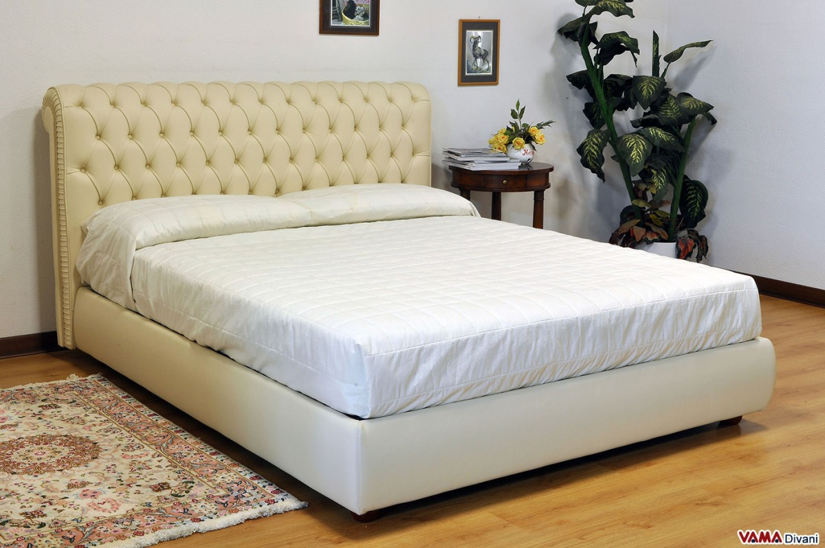 Chesterfield leather double bed create your own custom model - Bed desine double bed ...