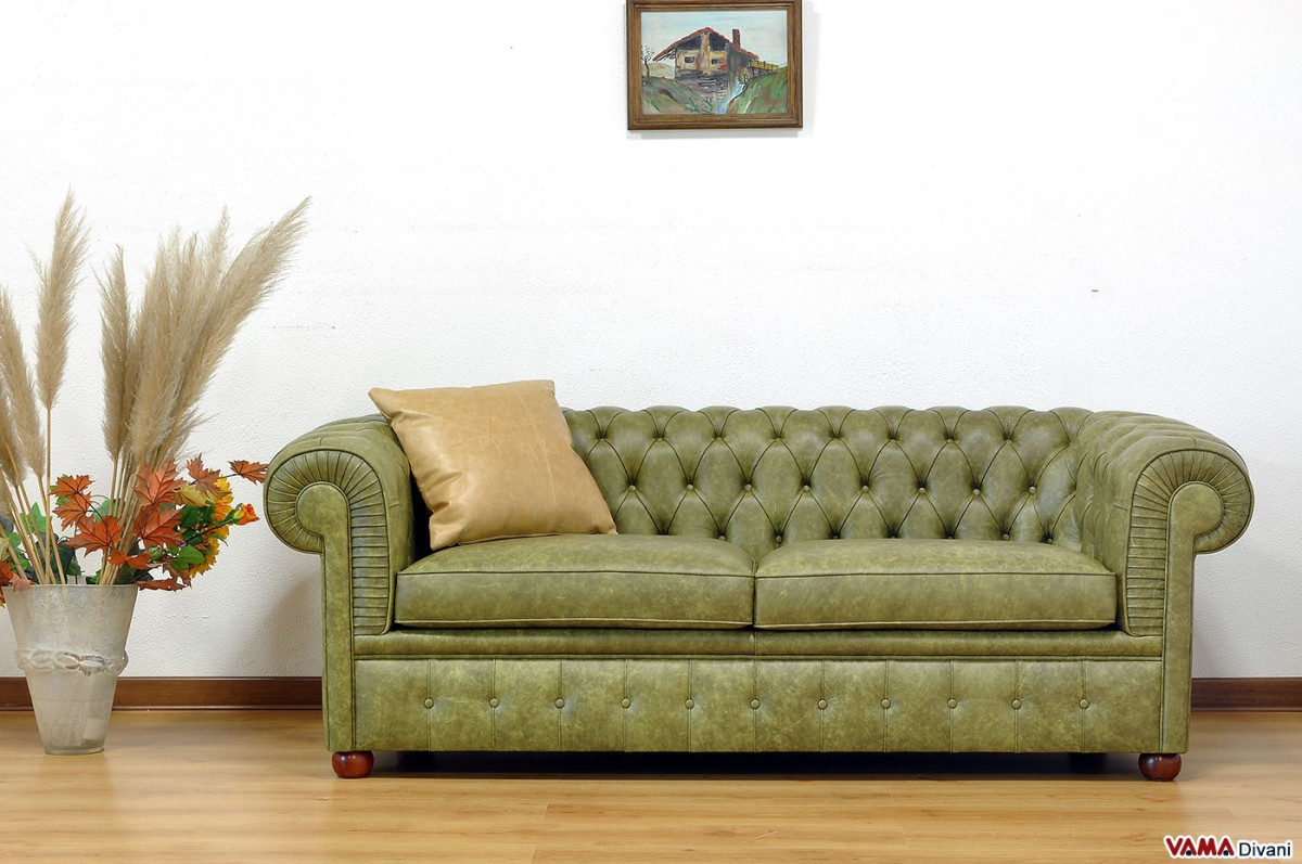 Chesterfield Large Sofa In Olive Green Vintage Aged Leather