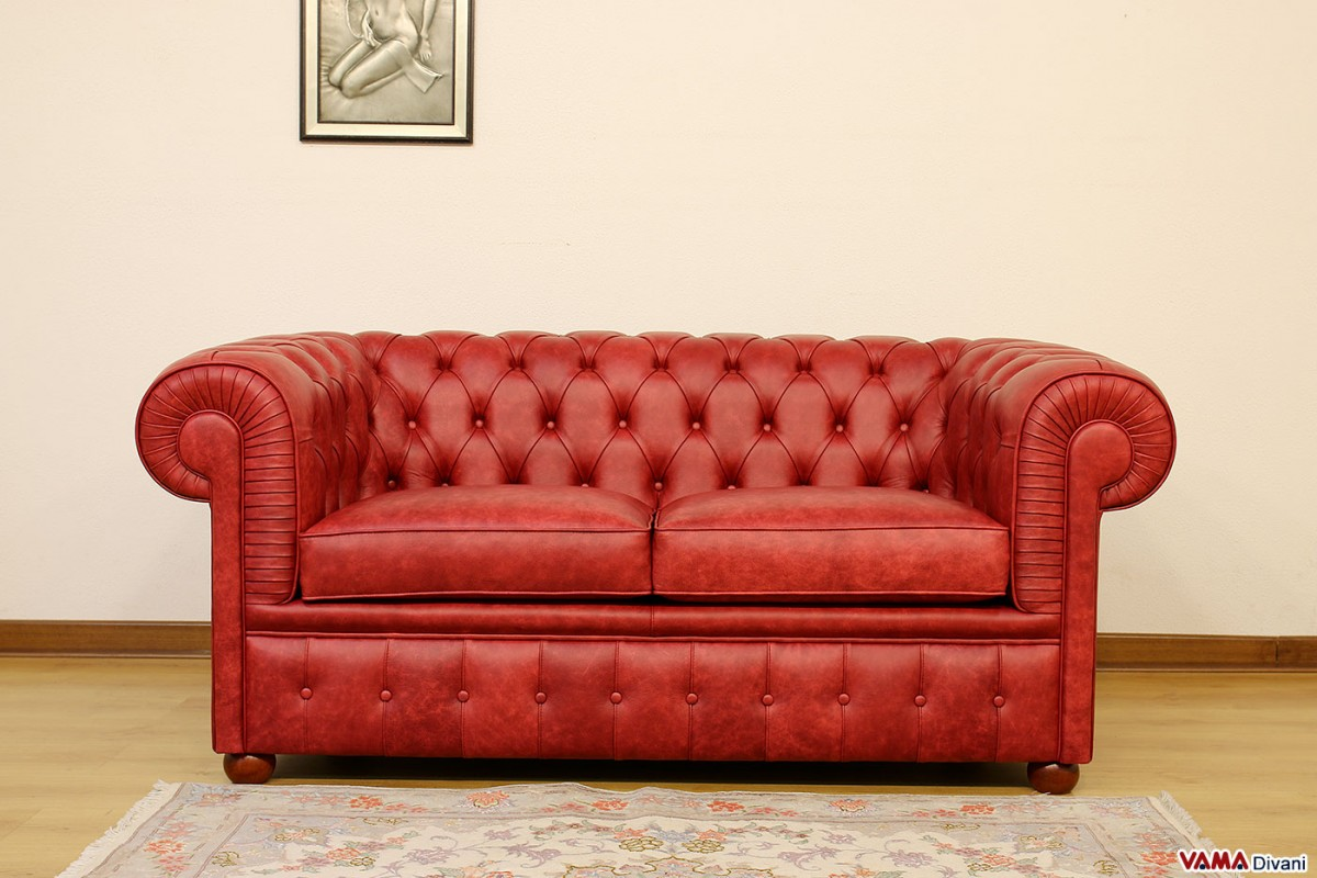 Chesterfield Sofa 2 Seater Vintage Red Genuine Leather