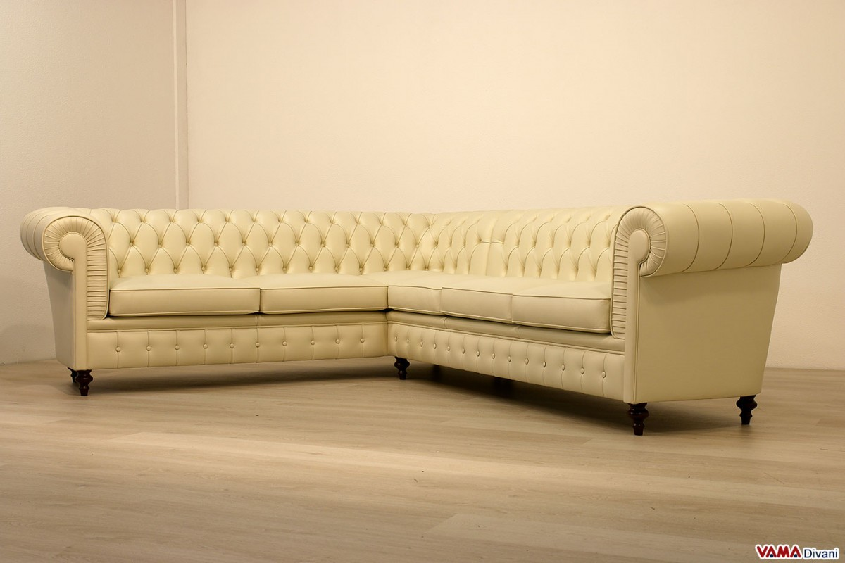 Chesterfield Sofa Corner Leather Cream With High Legs