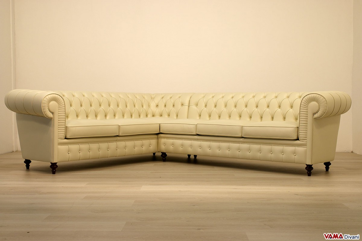 Chesterfield Sofa Corner In Cream Leather High Leg