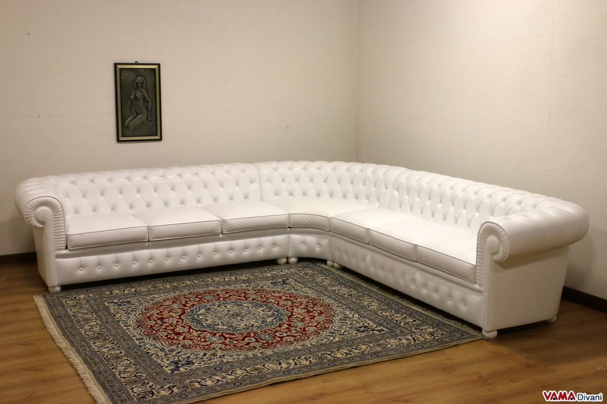 Chesterfield Sofa Corner Leather White Zoom