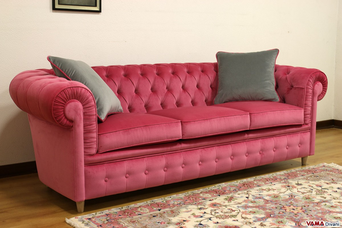 Chesterfield sofa in pink velvet candy three places