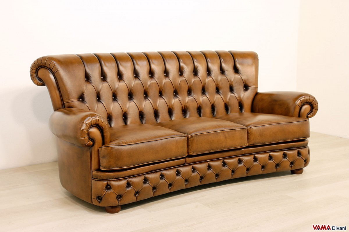 Buttoned Leather Sofa In The Chesterfield Style ~ Brown Leather Sofa With Studs