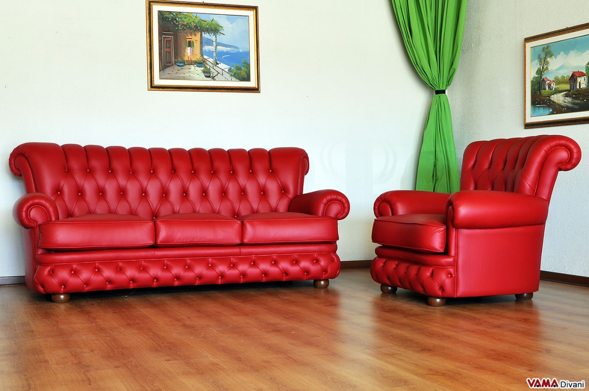 Buttoned leather sofa in the chesterfield style - Fabbrica divani catania ...