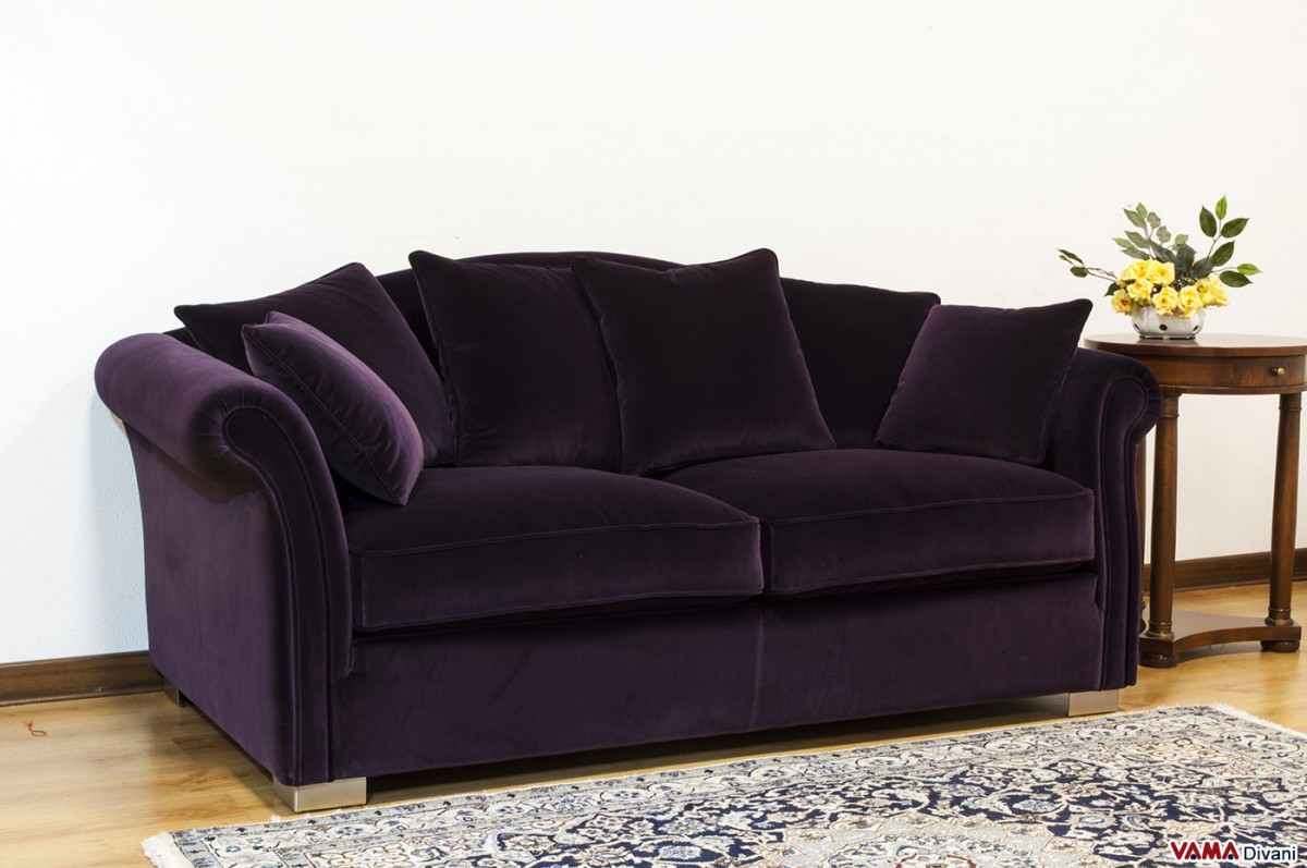 Dark purple sofa purple sofa cover thesofa for Purple sofa