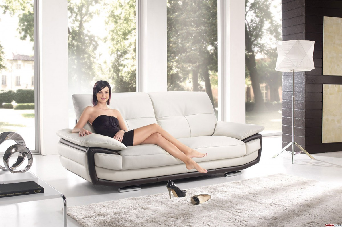 Bilbao Leather Sofa With Contrast Edges