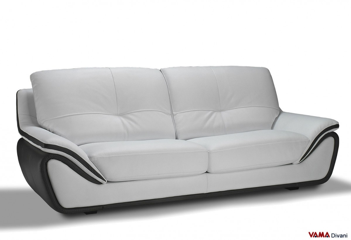 Contemporary White Leather Sofa Large And High Back