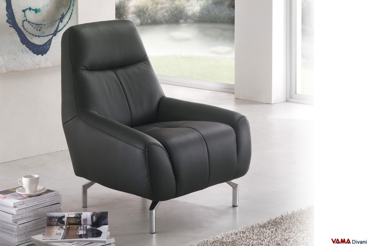 Contemporary Leather Armchair With Steel Feet