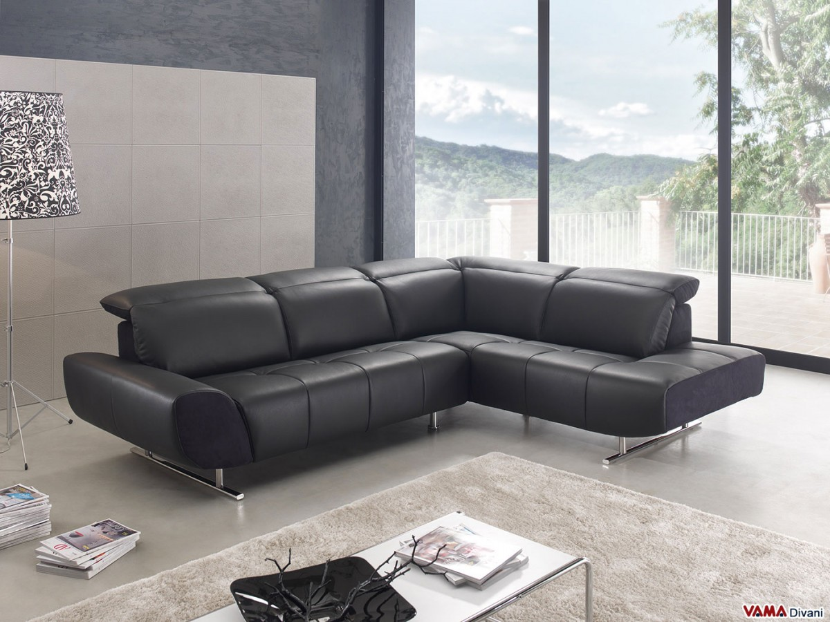 Contemporary Corner Sofa In Black Leather With Headrests - Black leather corner sofa