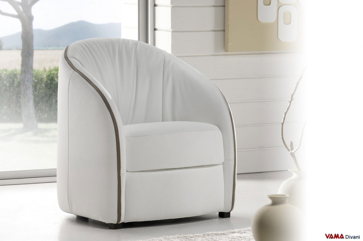 Contemporary Cockpit Armchair In White And Taupe Leather