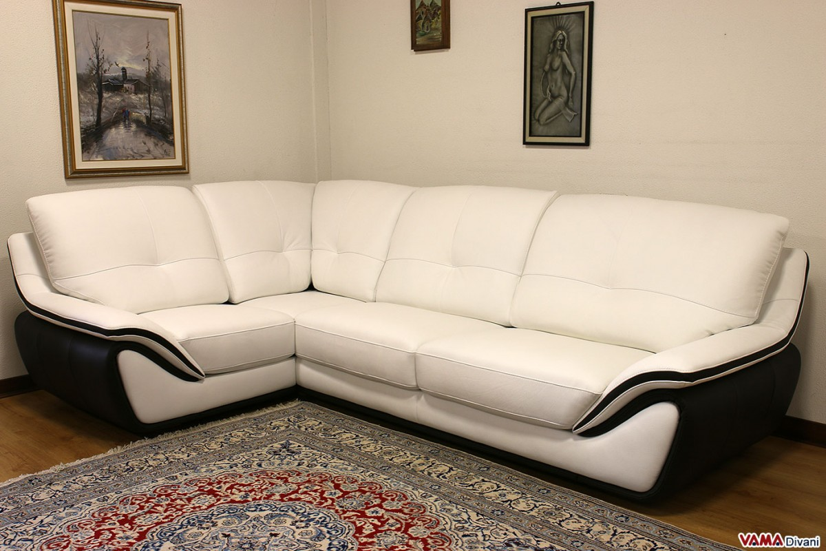 Contemporary white leather sofa large and high back for Contemporary leather sofa