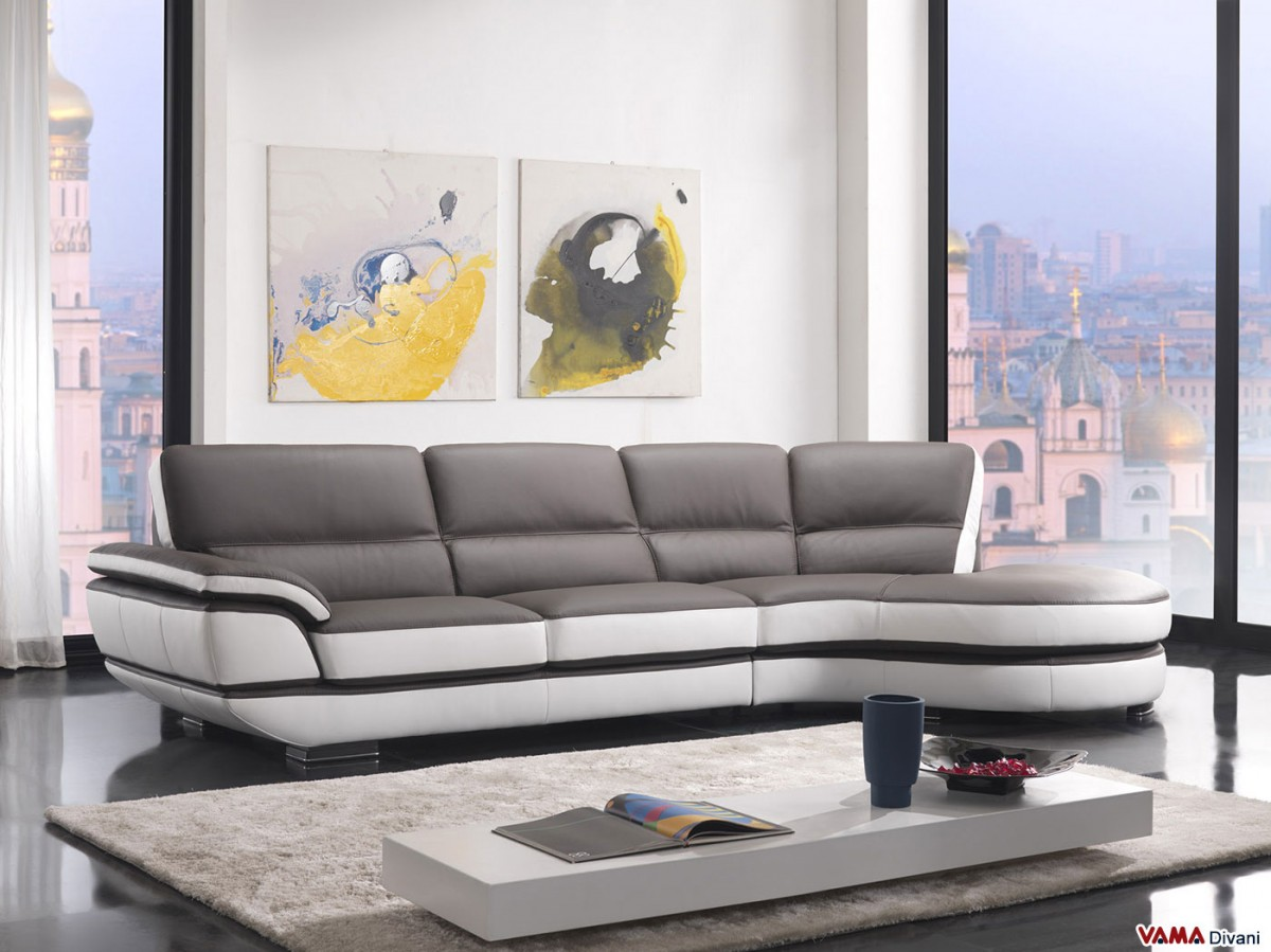 Contemporary Leather Sofa With A 60 Degree Corner