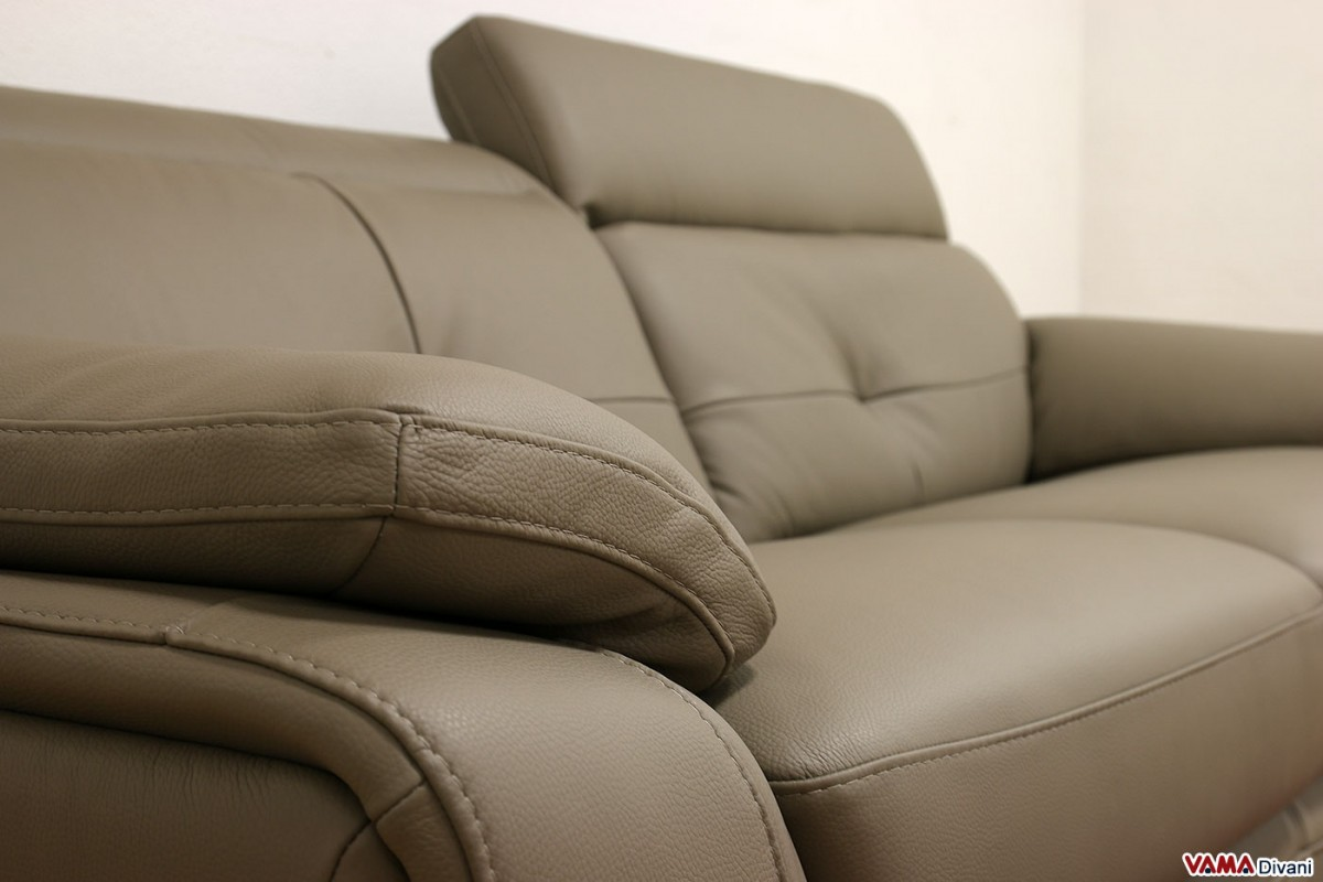 Leather Sofa With Half round Angle And Reclining Headrests