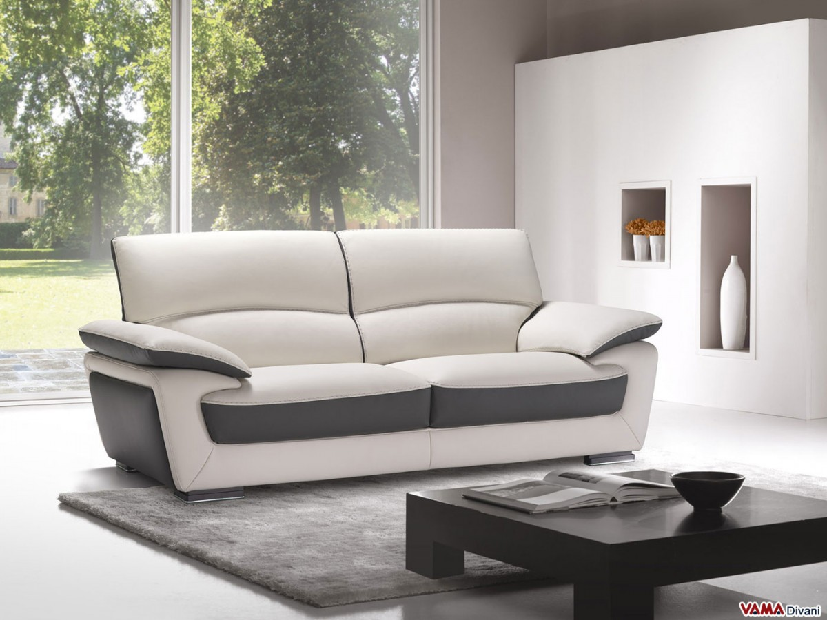 Leather sofa in two colours with high back for Contemporary leather furniture