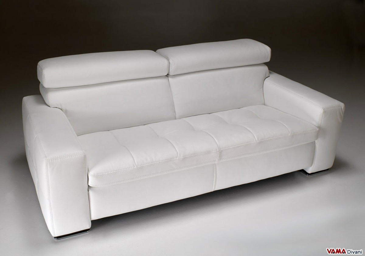 Contemporary square sofa in genuine white leather Contemporary leather sofa